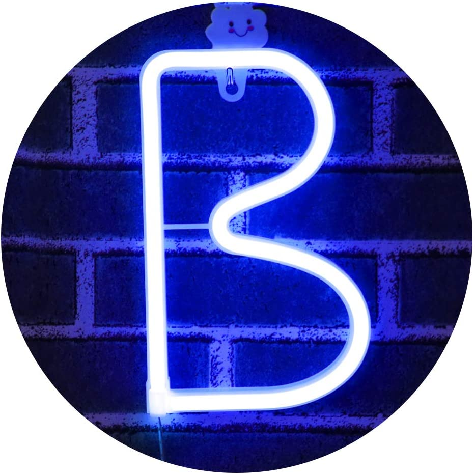LED Neon Letter Light, USB Batteries Operated Marquee Letter Sign for Night Light Bright Lamp Words for Home, Hotel, Indoor Wall Decor-blue Letter B