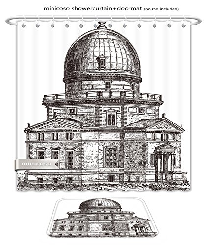 Minicoso Bath Two Piece Suit: Shower Curtains and Bath Rugs Observatory Of Strasbourg France Vintage Illustration From Meyers Konversations Lexiko Shower Curtain and Doormat Set - Old Royal Observatory