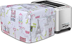 Hot Dog Toaster Cover,Toaster Oven Dust Cover,Four Slice Bread Toaster Cover,Cover for air fryer with Accessory Pocket Compatible(Paris)