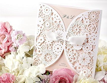 Amazon Com Diy Laser Cut Lace Vintage Flower Wedding Invitation