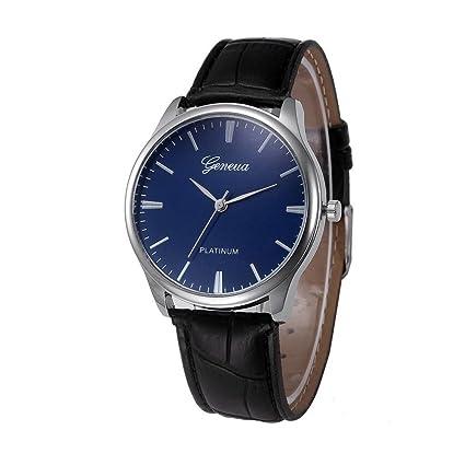 Relojes Mujer,Xinan Reloj de Pulsera Reloj Redondo Cuero Imitación para Mujers (Negro)