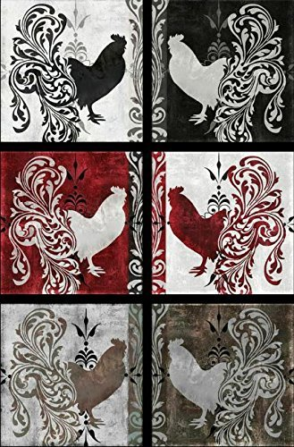 Quilting Treasures 'Bonjour' Rooster Patch Panel Cotton Fabric