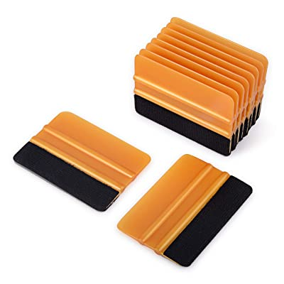 Ehdis [10PCS Felt Edge Squeegee 4 inch for Car Vinyl Scraper Decal Applicator Tool with Black Fabric Felt Edge - Gold PP Scraper: Automotive