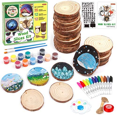 Wood Slices Kit, Shuttle Art 35 PCS Unfinished Natural Wood Slices with Pre-Drilled Hole, Acrylic Paint, Permanent Markers, Jute Twine, DIY Craft for Kids Adults Holiday Decoration Christmas Ornaments