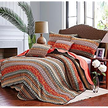 Amazon.com: Best Striped Classical Cotton 3-Piece Patchwork ... : bedding quilt sets - Adamdwight.com