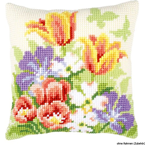 Vervaco Spring Flowers Cushion Cross Stitch Kit