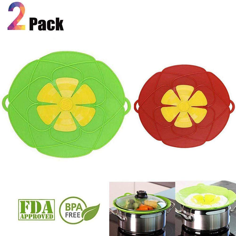 Spill Stopper Lid Cover Boil Over Safeguard,Silicone Spill Stopper Pot Pan Lid Splatter Guard Screens Steam Rack Pot Holder, Multi-Function Kitchen Cooking Tool
