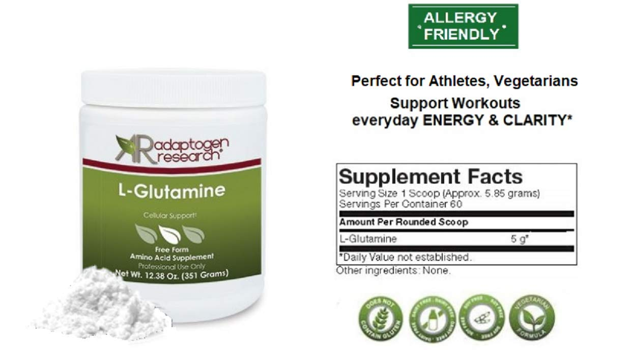 L-Glutamine Cellular Support | Free form Amino Acid Supplement | Powder | Supports Muscle Mass and Gastrointestinal Tract | 351g | Adaptogen Research | Pharmaceutical Grade Supplements by Adaptogen Research