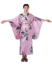 Soojun Women's Traditional Japanese Kimono Style Robe Yukata Costumes