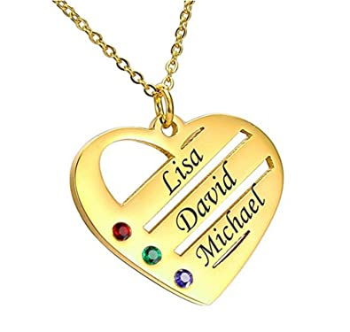 dbd1d993b Personalized Mother's Heart Necklace with Birthstones & Names-Custom Made  Pendant Jewelry Gift for Mom Grandma Wife Spouse: Amazon.co.uk: Jewellery