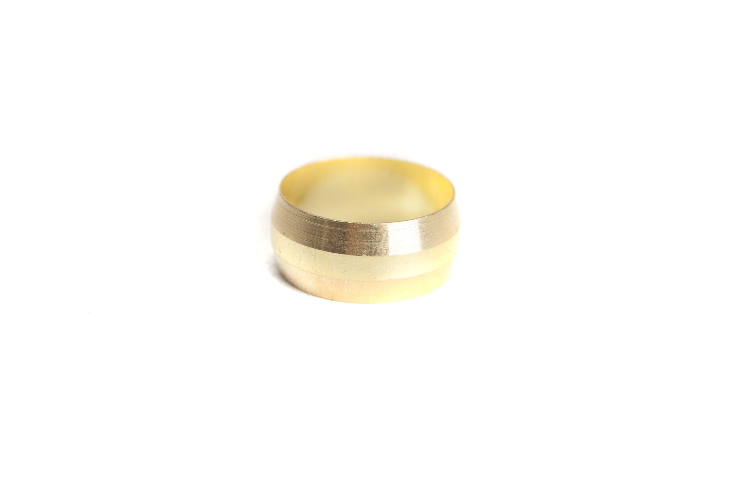 LTWFITTING 5/8'' Brass Compression Sleeves Ferrels ,BRASS COMPRESSION FITTING(Pack of 50) by LTWFITTING (Image #1)