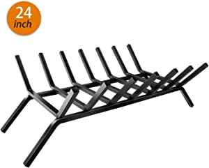 WBHome Fireplace Grate 24 inch - 7 Bar Fire Grates - Heavy Duty Solid Steel - for Indoor Chimney Hearth Outdoor Fireplace Kindling Tool Pit Wrought Iron Wood Stove Firewood Burning Rack Hold