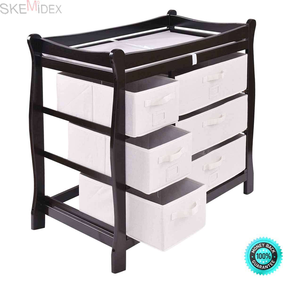 SKEMiDEX--- Sleigh Style Baby Changing Table Diaper 6 Basket Drawer Storage Nursery This Espresso six-basket baby-changing table makes bringing your new bundle of joy home even easier