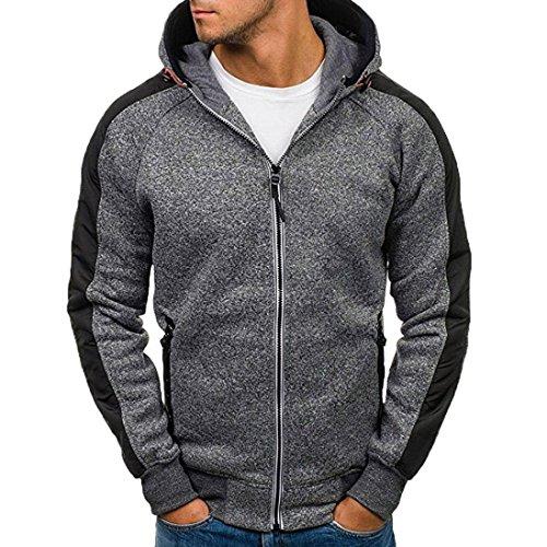 kaifongfu Sweatshirt for Men,Autumn Men's Patchwork Zipper Hooded Tops Men Outwear Blouse(Dark Gray,L)