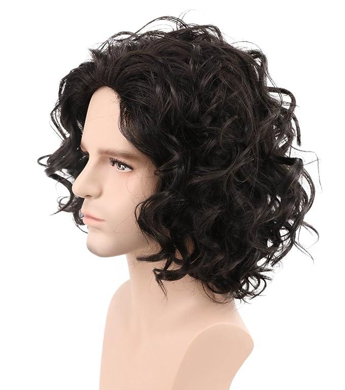 Karlery mens marrón oscuro corto rizado peluca mullida de Halloween Cosplay peluca de la fiesta de disfraces peluca: Amazon.es: Belleza