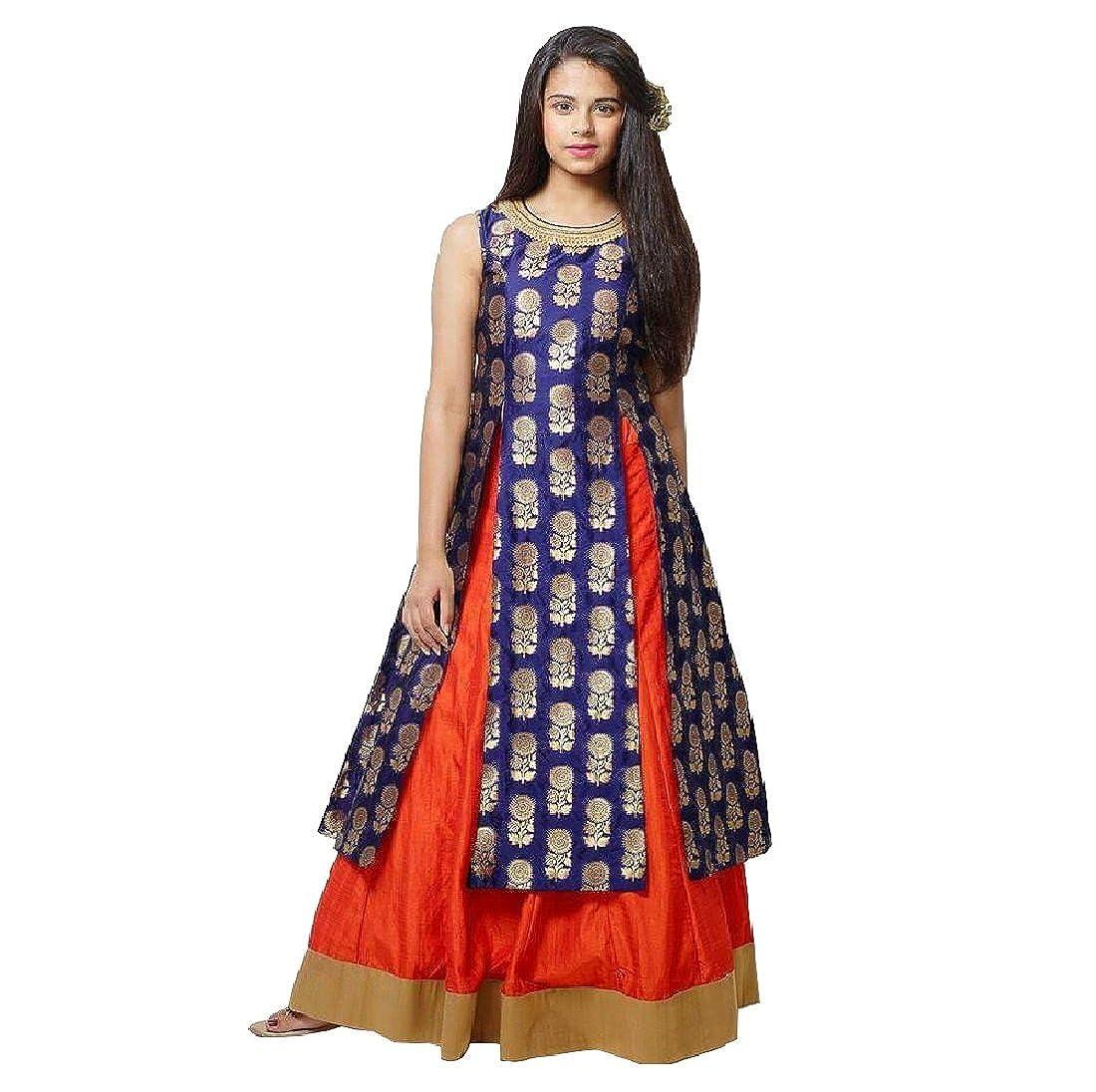 3c91db521 Cartyshop Girl s Navy Blue Jequard Silk N Orange Silk Lehenga Indo Western  Style Readymade Wedding Wear Lehenga Choli Dress for Kids  Amazon.in   Clothing   ...