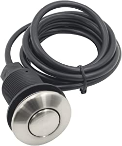 Air Activated Switch Button with Air Hose, Sink Garbage Disposal Parts (BRUSHED STAINLESS STEEL)