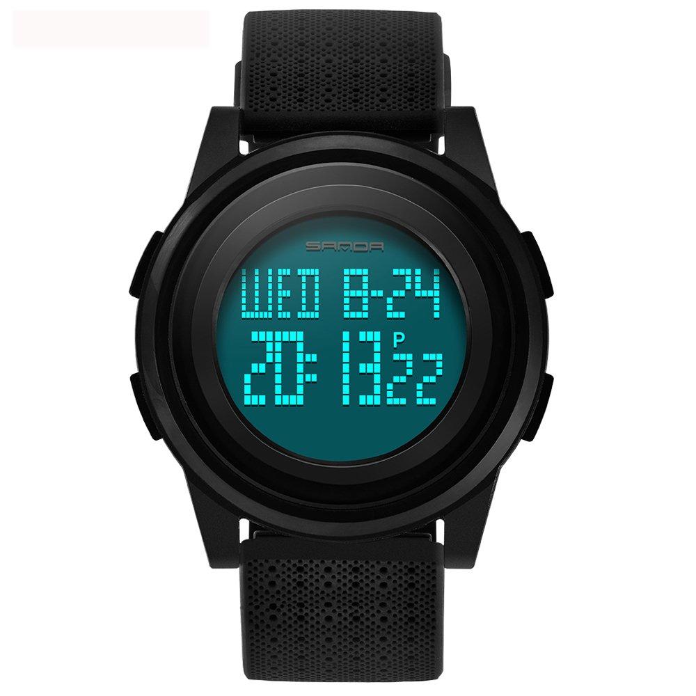 Tayhot - Reloj de Pulsera Deportivo con cronógrafo Digital, Color Negro, con Correa de Goma, Resistente al Agua, Elegante y Multifuncional, para Hombres, con Alarma, Temporizador y retroiluminación