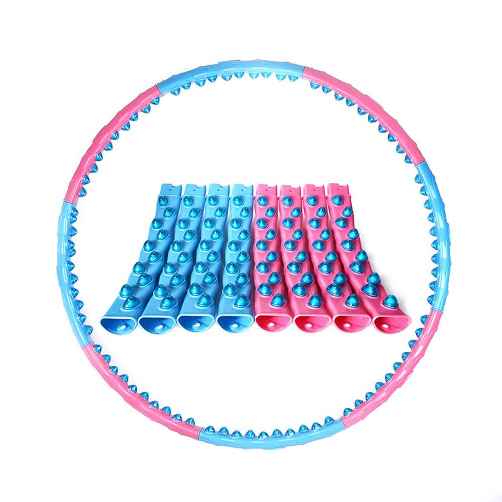 Qys Adulto Domestico Staccabile Hula Hoop da Donna Movimento Attrezzatura per Addome Massaggio Fitness Perdere Peso Blu + rosa