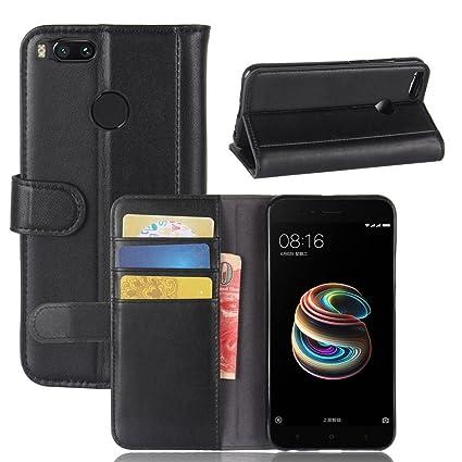 Xiaomi Mi A1 Case,DISLAND [Card Slot][Stand Feature] Genuine Leather Flip  Wallet Stand Cover Case for Xiaomi Mi A1,Black
