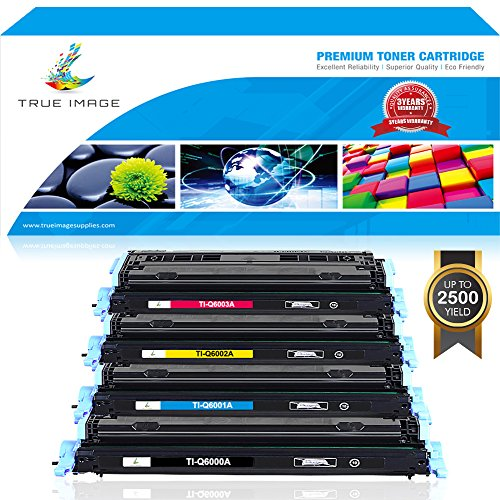 TRUE IMAGE 4 Pack Compatible Toner Cartridge Replacement for HP Q6000A Q6001A Q6002A Q6003A HP Color LaserJet 2600N 1600 2605N 2605DN 2605DTN CM1015 MFP CM1017 MFP (Black, Cyan, Magenta, Cyan) (Magenta Cartridge Q6003a Laser)