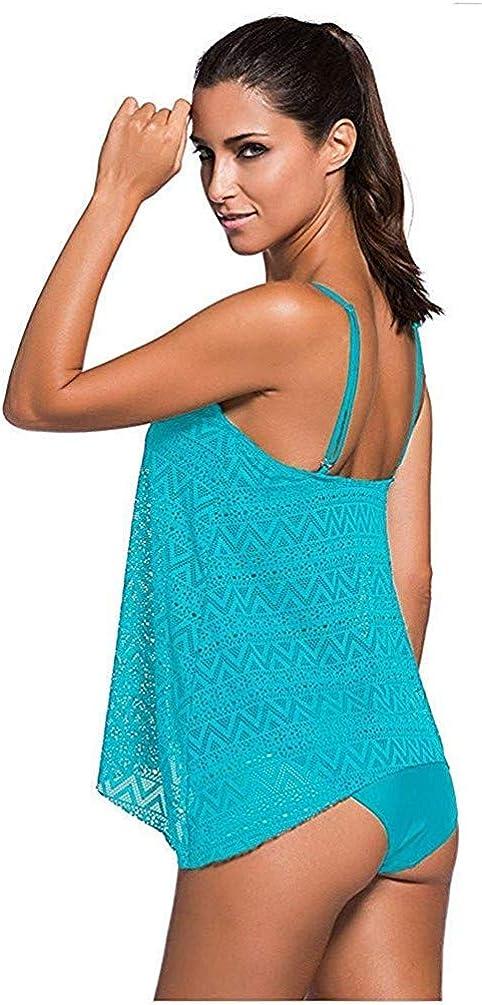 Sucor Damen Sportlich Tankini Mesh Badeanzug Zweiteilig Badeanz/üge Elegantes Swimsuit Beachwear mit Bikinislip Plus Size