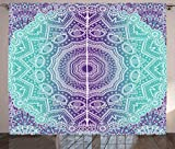 Ambesonne Purple and Turquoise Curtains, Hippie Ombre Mandala Inner Peace and Meditation with Ornamental Art, Living Room Bedroom Window Drapes 2 Panel Set, 108 W X 84 L Inches, Purple Aqua