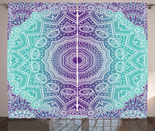 Cheap Ambesonne Purple and Turquoise Curtains, Hippie Ombre Mandala Inner Peace and Meditation with Ornamental Art, Living Room Bedroom Window Drapes 2 Panel Set, 108 W X 84 L Inches, Purple Aqua
