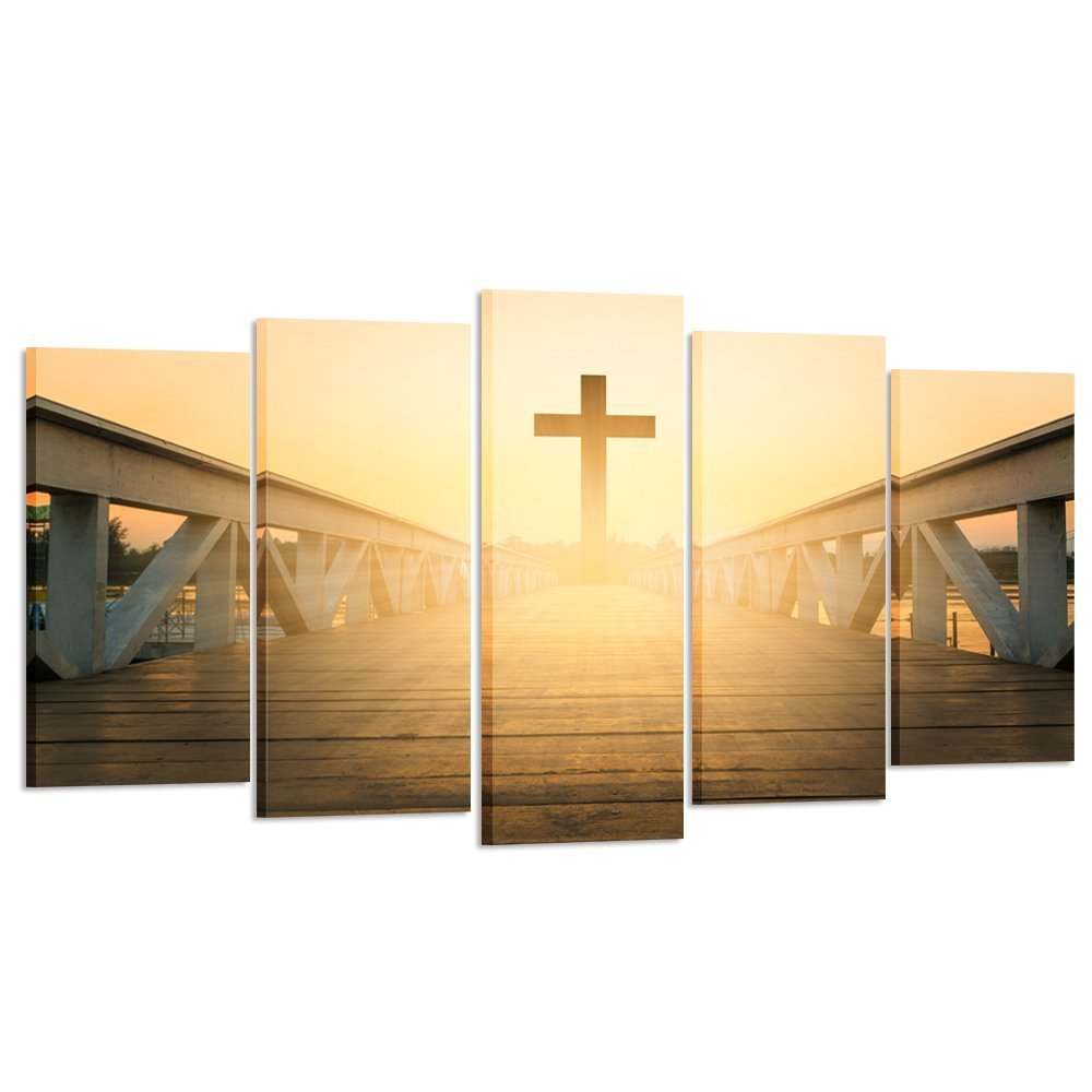 Kreative Arts - Large Size 5 Pieces Canvas Prints Wall Art Christian Cross Picture Stretched Gallery Canvas Wrap Giclee Ready to Hang for Living Room Decor (Large Size 60x32inch) by Kreative Arts