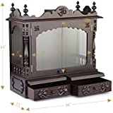 """Aakaar Idols & Temples, Wall Hanging, Handcrafted Wooden Temple/Mandap/Pooja Mandir/Home Temple with Doors - 24"""" VC Without Dome for Home & Office"""