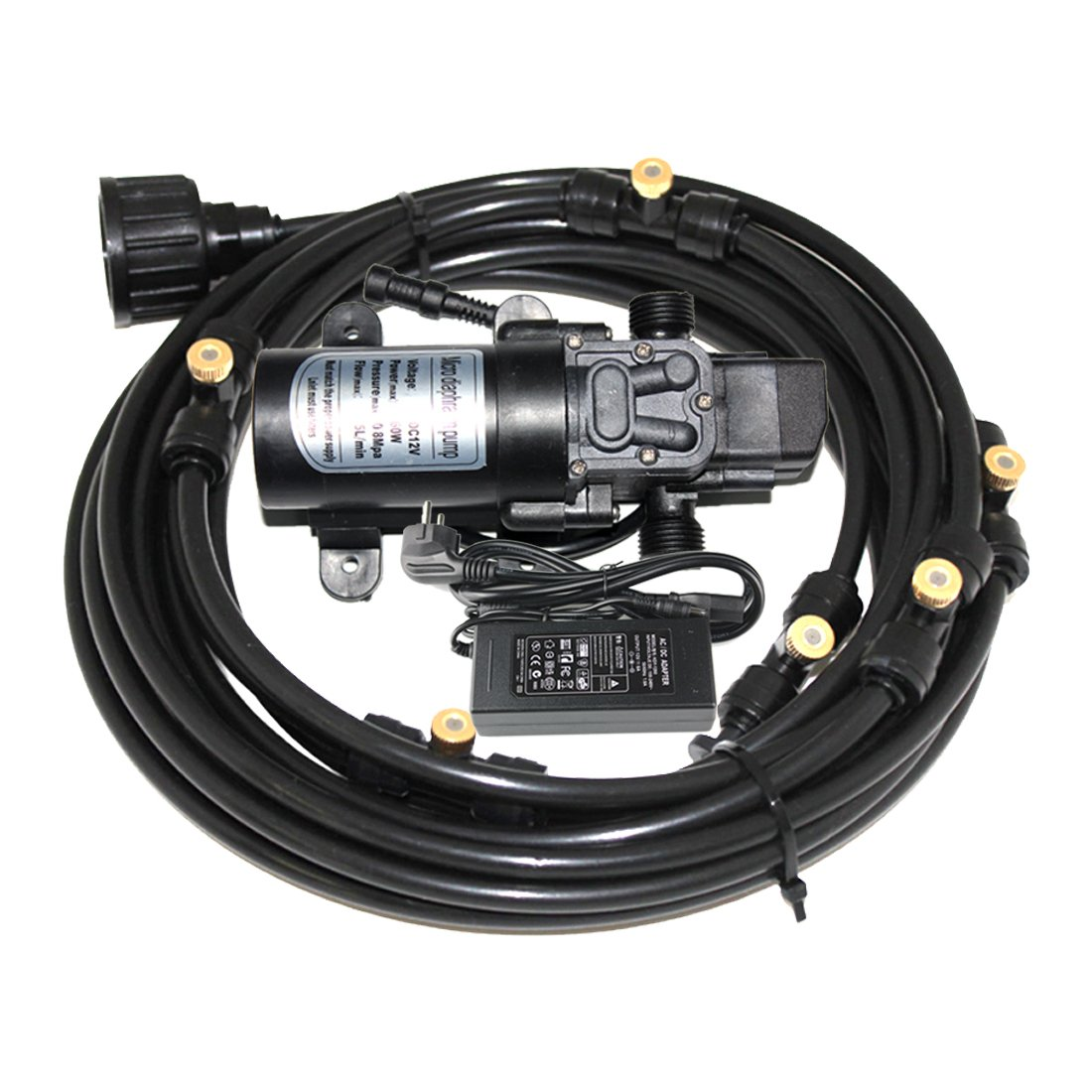 12m (40feet) Length Misting Cooling System With 12V 60W 5L/min Micro Washdown High Pressure Self Priming Diaphragm Pump by Hylaea