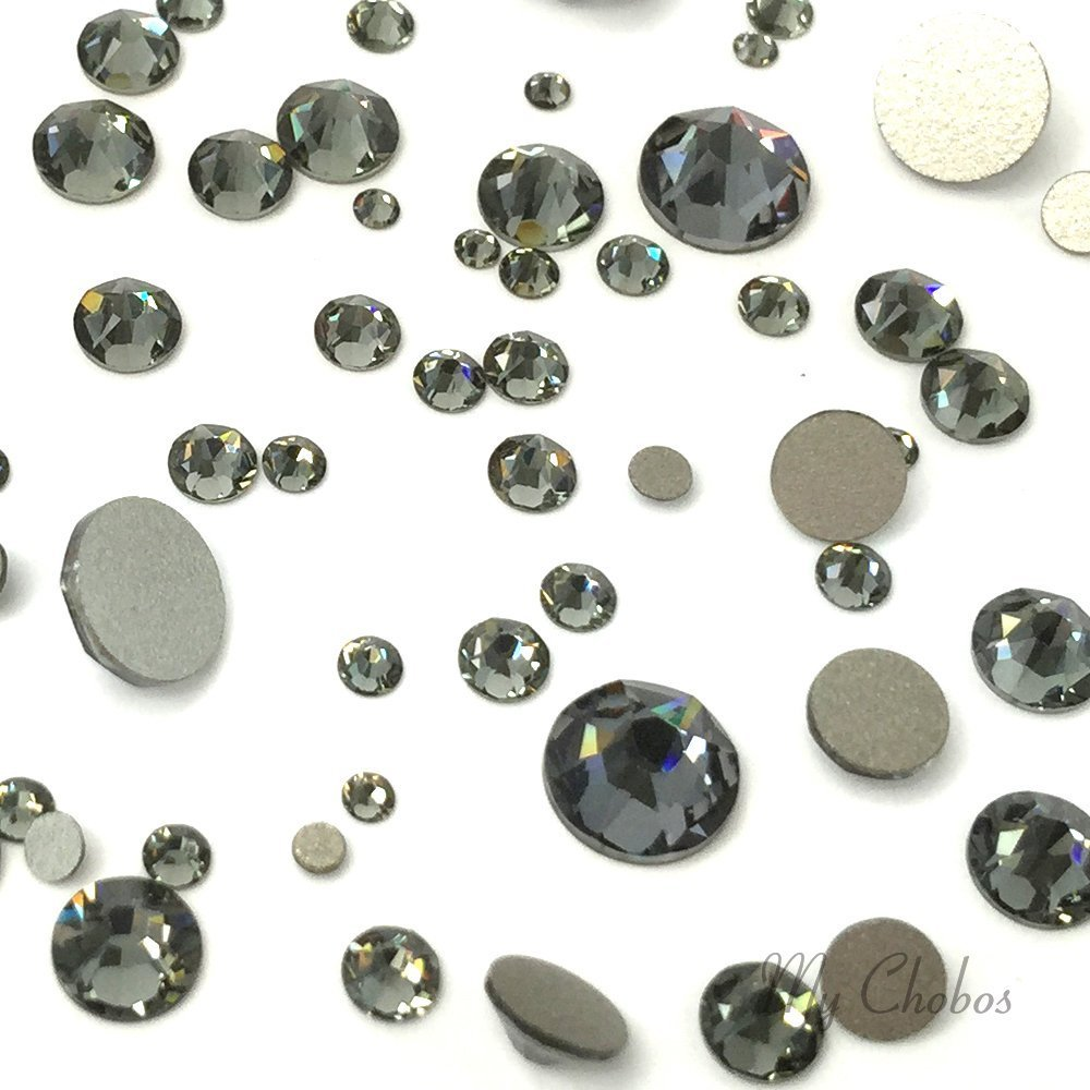 BLACK DIAMOND (215) 144 pcs Swarovski 2058/2088 Crystal Flatbacks rhinestones nail art mixed with Sizes ss5, ss7, ss9, ss12, ss16, ss20, ss30 by Crystal-Wholesale