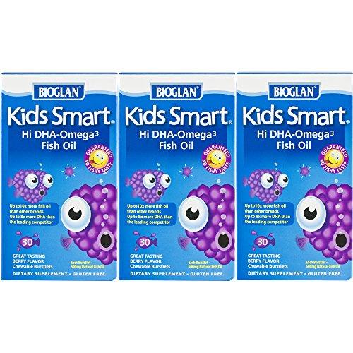 Smart Omega 3 - Bioglan Kid's Smart Omega 3 Fish Oil, 30 Chewable Burstlets (Pack of 3)