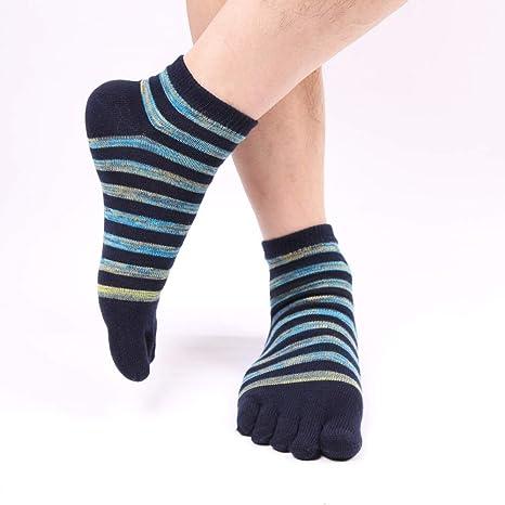 SBL Calcetines Calcetines sin Dedos de Los Hombres, Calcetines de Algodón de Otoño E Invierno Calcetines de Cinco Dedos de Los Hombres, Calcetines de Manga Corta a Rayas para Hombres,Verde,UNA: Amazon.es: Deportes