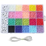 Seed Beads, 3300 PCS Letter Beads and Pony Beads 24-Grid Craft Bead with Rope Mini Seed Beads Set for Jewelry Making…