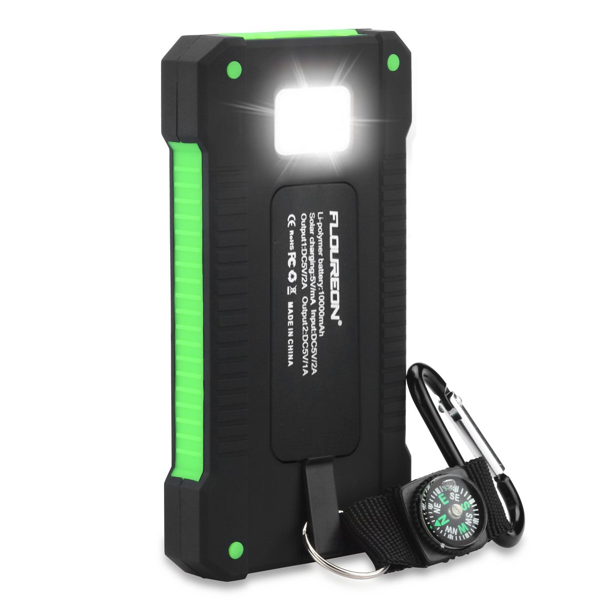 floureon Solar Charger Power Bank 10000mAh Portable Mobile Phone Charger Auxiliary Solar Charging Dual USB 1.0A/2.1A Max External Battery iPhone, iPad, Samsung Galaxy Android Phone Green