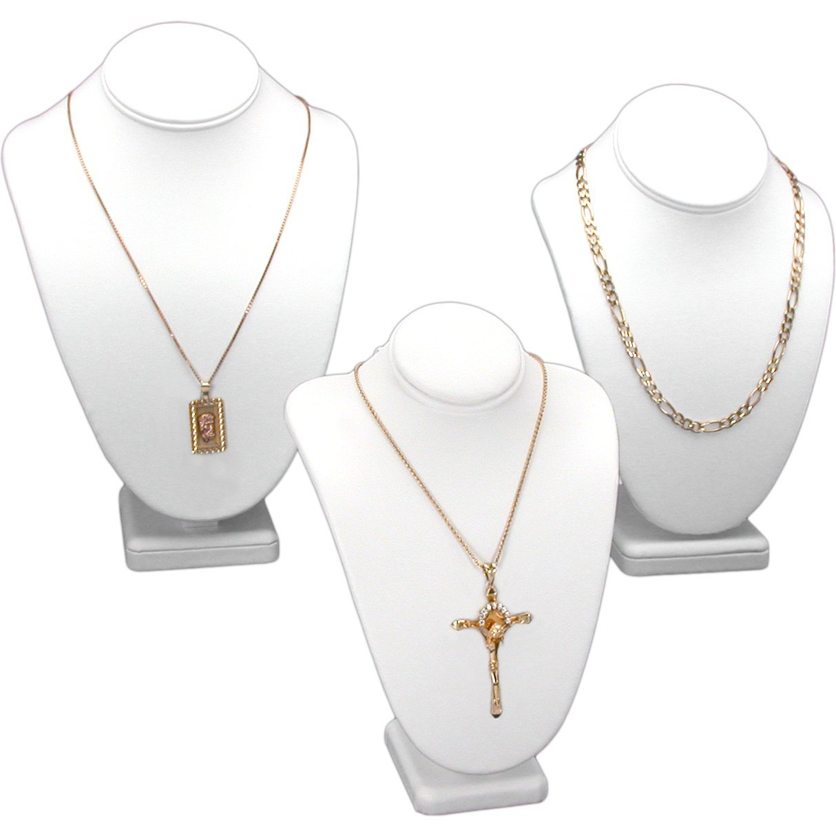 3Pc White Necklace Chain Jewelry Display Bust 11 New KIT-10387