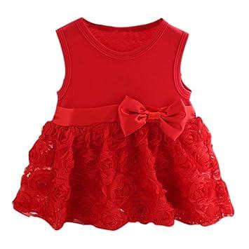 Shiningup Vestido de fiesta de princesa Baby Girl sin mangas rojo rosado para 6 meses a