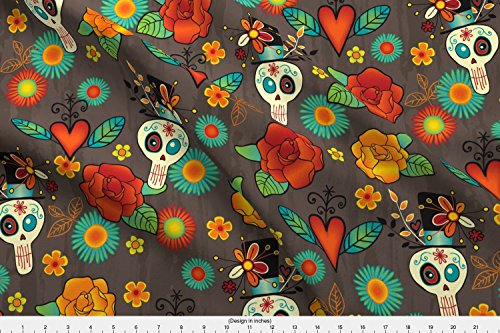 Spoonflower Skull Fabric Dia De Los Muertos by Jennartdesigns Printed on Basic Cotton Ultra Fabric by The Yard ()