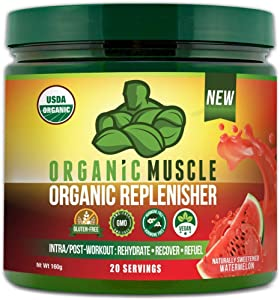 Organic Replenisher Electrolyte Powder- Organic Post Workout & Intra-Workout Vegan Recovery Drink. Max Hydration w/Coconut Water, Mineral Salts, More. Non-GMO - Watermelon Flavor - ORGANIC MUSCLE