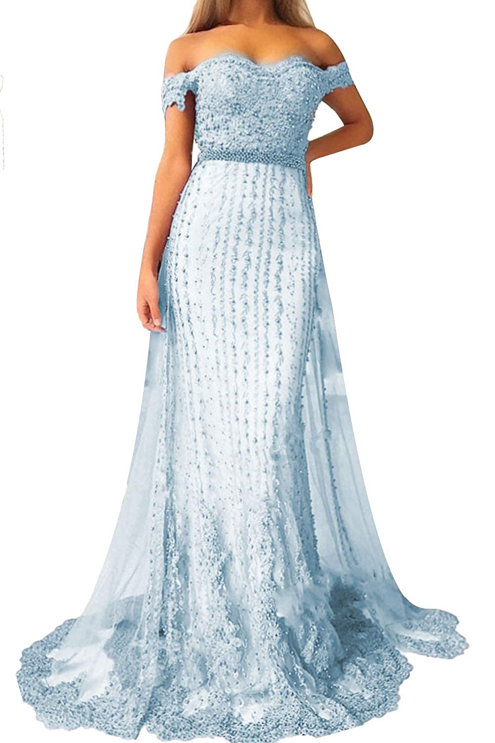bluee Promworld Women's Off The Shoulder Lace Applique Beaded Bridesmaid Dress Long Prom Dress with Train