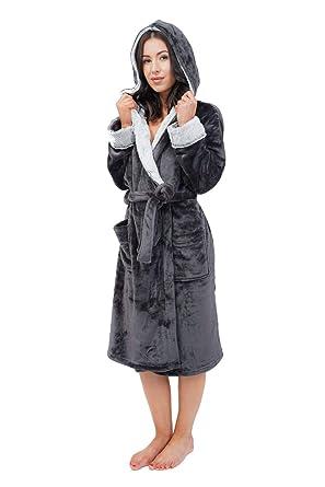 Keanu Ladies Luxury Super Soft Cosy Fleece Charcoal Hooded