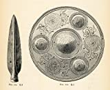 1882 Woodcut Lance Head Prehistoric Tools Shield