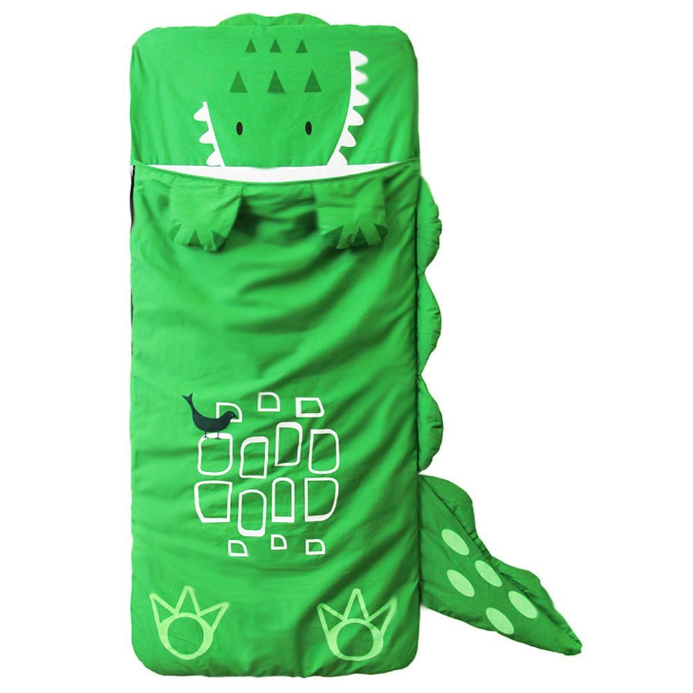 A.B Crew 55x24'' Upgraded Detachable Cute Cartoon Kids Sleeping Bag Added Bottom Zipper 100% Cotton Baby Toddler Swaddle Wrap, Crocodile