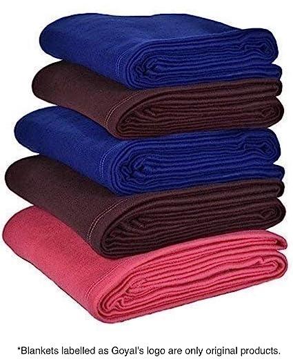 Goyal's Fleece Single Bed Blanket, 55x88-inch, Blue, Red, Coffee - Set of 5