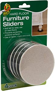 Duck Brand 284858 Felt Furniture Sliders for Hard Floors, 3.5 Inch Width, 4 Pack
