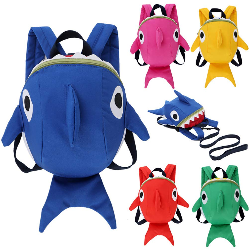1PC Cute Shark Strap Backpack Shoulders Bag with Leash 3D Cartoon Backpack Anti-Lost Belt School Bag for Baby Toddler Yellow