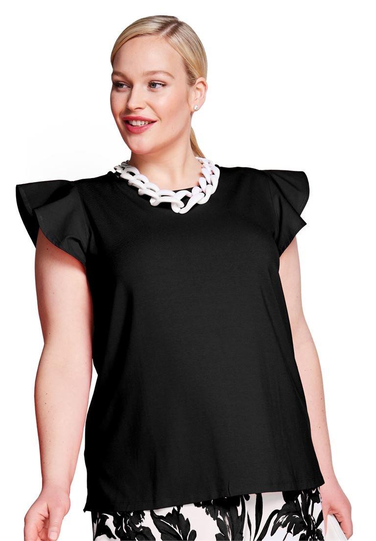 Jessica London Women's Plus Size Flutter Sleeve Tee Black,22/24