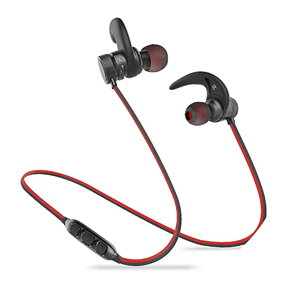 Bluetooth Earphone Wireless Headphone Sport Bluetooth Headset Auriculares Cordless,Black with red,C