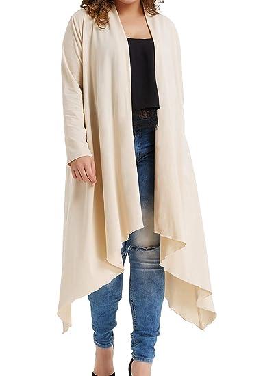 6469ded5b2fd Womens Plus Size Open Front Maxi Cardigan with Irregular Hem Apricot 0X